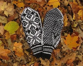 Handknit Scandinavian Mittens Selbu, Norway Rose, White on Black. Sport weight 100% wool yarn. Large woman's/medium man's size.