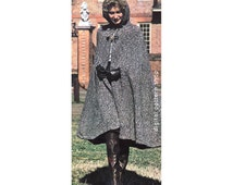 Womens Hooded Cape Knitting Pattern 1970s Vintage Long Knit Cape With Arm Openings Pattern Open Poncho PDF Instant Download - K57