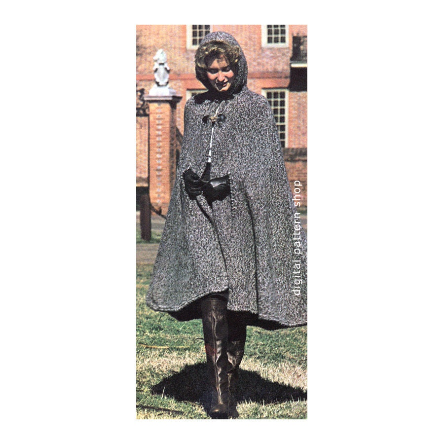 Womens Hooded Cape Knitting Pattern 1970s Vintage Long Knit