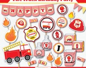 Fire Truck Party - Fireman Birthday - Firefighter Party - Fire Truck Birthday - Fire Truck Decor - Firetruck Birthday (Instant Download)