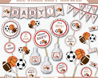 Sports Baby Shower Decorations   All Star Baby Shower   Sports Baby Shower    Baby Shower