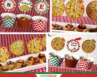 Pizza Party Cupcake Toppers - Pizza Birthday - Cupcake Toppers Printable - Pizza Decor - Cupcake Toppers - Pizza Party (Instant Download)