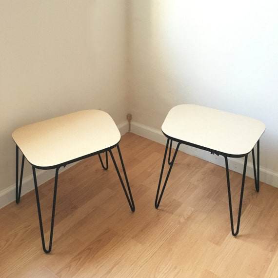 Vintage end tables pair of hairpin leg side by shopshopmodern for Vintage hairpin table legs