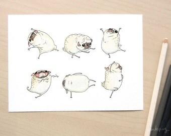 Funny pug art - Pug Interpretive Dance art print, pug dance funny art with pugs, pug decor, pug wall art, pug Illustration by Inkpug