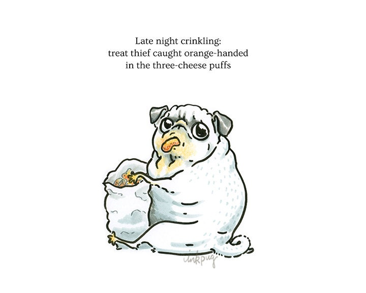 pug poems pug poetry treat thief pug art print or funny card with 4413