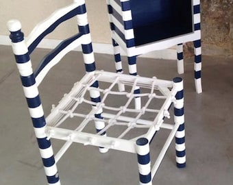 Chair SAILOR'S CHAIR -- Rehabilitated wooden chair, handwoven net, stripy blue / white by SophieLDesign