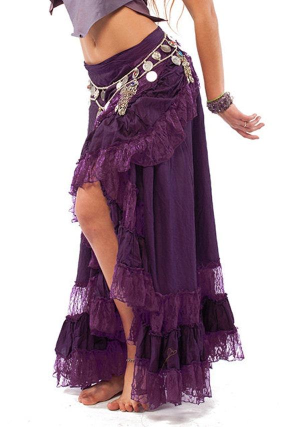 Long Gypsy Skirt Flamenco Skirt Long Wrap Skirt Purple