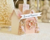 Victorian Cottage ornament, Christmas Putz Glitter House, Spring or Christmas village display.