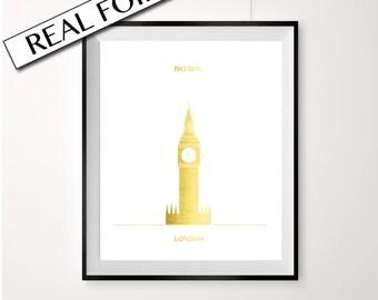 Big Ben poster, London, A4 or A3, REAL Gold Foil, London landmark, famous landmark, gold poster, clock tower, gold big ben print, london