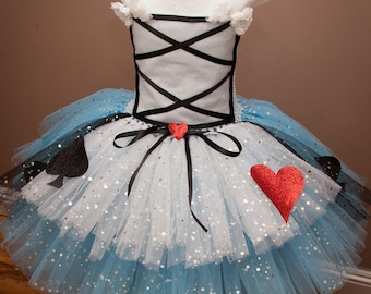 Deluxe Alice in Wonderland Inspired Tutu Dress with Glittery Tulle
