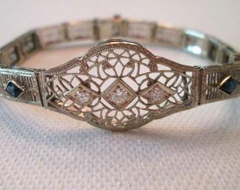 Art Deco 14k white gold filagree old European cut diamond and synthetic Sapphire  bracelet