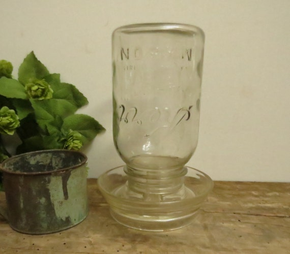 Vintage Chicken Waterer Clear Glass With Kerr Mason Jar