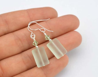 Sea foam sea glass earrings with Swarovksi crystals coke sea glass handmade jewelry delicate earrings dainty handmade earrings beach wedding