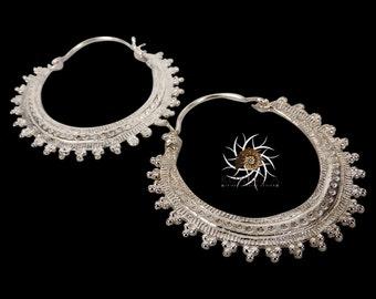 Silver Earrings - Silver Hoops - Gypsy Earrings - Tribal Earrings - Ethnic Earrings - Indian Earrings - Ttibal Hoops - Indian Hoops ES17