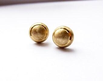 Gold Stud Earrings/  Solid Brass Stud Earrings/ Minimalist Earrings/ Rustic Wedding Gift/ Bridesmaid Earrings/ Mini Studs/ Simple Earrings
