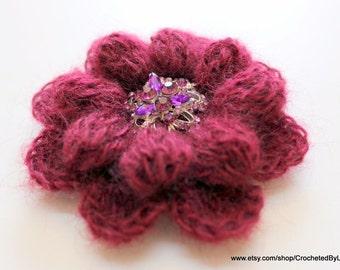 Crochet Flower Brooch, Crochet Jevelry, Crochet Brooch, Mohair Fiber, Maroon Brooch Flower, Crochet Flower, Hand Crochet Gift For Women