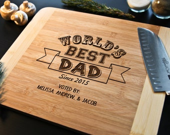 Personalized Cutting Board for dad~ Fathers Day, Birthday for him, Christmas for him, godfather, chef grandpa, Worlds greatest father