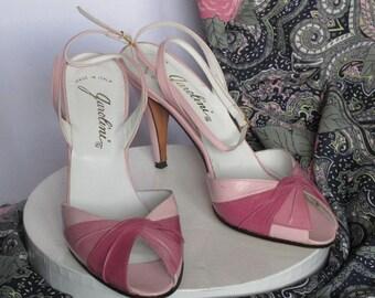 Vtg 70s 80s Pink Multi Open Toe Heels Peep Toe Pumps   Size 6.5m  Made in Italy by Garolini  Ankle Strap Ladylike Retro Blush Mauve