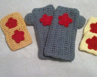 Wonder Woman Bracelets (set of 2), Wonder Woman Fingerless Gloves, Wonder Woman Cuffs (set of 2), Wonder Woman Crocheted Cuffs (set of 2)