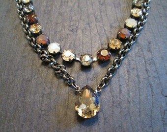 Neutral Swarovski Crystal Statement Necklace/Greige Swarovski Necklace/Fall Wedding /Tennis Necklace/Beige Crystal Necklace/Layered Necklace