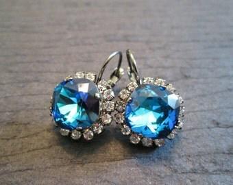 Gunmetal Bermuda Blue Earrings/Blue Swarovski Earrings/Gunmetal Earrings/Gunmetal Bridesmaid Jewelry/Mother of the Bride/Statement Earrings