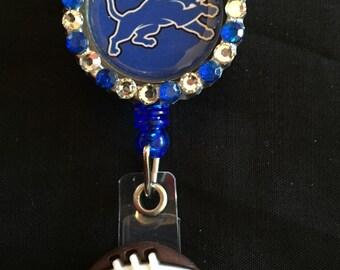 Detroit Lions Retractable I.D. Badge Holder, ID Badge Holder, Nurse Badge Reel, Name Badge Reel, Name Badge Holder, ID Badge Reel