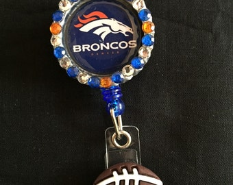 Denver Broncos Retractable I.D. Badge Holder, ID Badge Holder, Nurse Badge Reel, Name Badge Reel, Name Badge Holder, ID Badge Reel