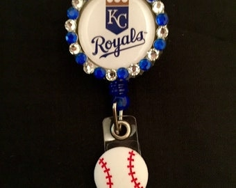 Kansas City Royals Retractable I.D. Badge Holder, ID Badge Holder, Nurse Badge Reel, Name Badge Reel, Name Badge Holder, ID Badge Reel