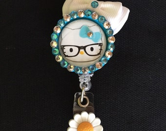 Hello Kitty Retractable I.D. Badge Holder with white bow