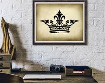 Antique Crown Digital Print - Rustic Printable Art - Contains 2 Files 5x7 & 8x10 - Book Plate Illustration - INSTANT DOWNLOAD #2061