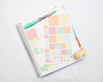 Square Sampler Sticker Sheet : Sherbert Theme Planner Stickers