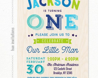 boys 1st birthday invitations, printable digital birthday party invitation, our little man first birthday, navy blue lime green orange