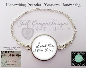 Handwriting Bracelet - custom handwriting bracelet, Your custom handwritten message - Loss of Loved One - handwriting memorial