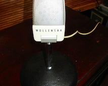VINTAGE Microphone w/Stand, 1960s Wollensak Mic, Retro Music Singing Electronic Radio Recording DJ Mic Addition, Photography Photo Prop