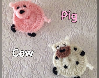 """Nylon Cow/Pig  Pot Scrubbers- Cow & Pig Dish Scrubbers, Crocheted Scrubbies, You Choose Pigs, Cows, or a Combo with both, Aprox 4 1/2 """" Dia."""