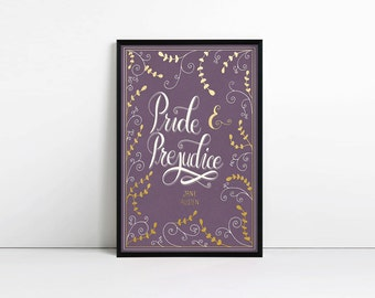 Pride and Prejudice poster, typography print, book art, literature print, bookish, faux gold foil