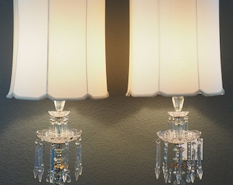 Gorgeous 3-Tier Italian Crystal Lamp Pair with Shades, Hollywood Regency Table Lamps XLARGE