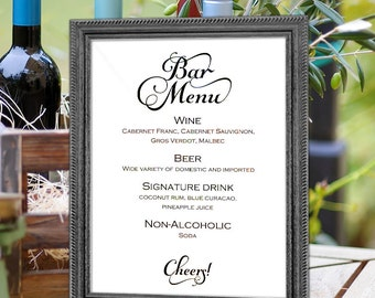 Printable, bar menu sign, wedding bar menu sign, template, diy bar menu.instant download, signs for wedding, S4