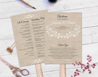 Rustic burlap spring floral paddle fan program template| Printable wedding program| Editable text| Printable Fan program template|ETP|T24