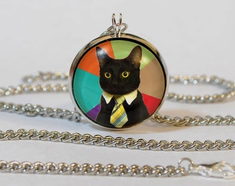 Handmade Business Cat Pendant Necklace