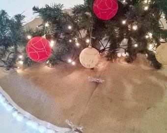 """Christmas Tree Skirt - Burlap Tree Skirt - Christmas Decor - Tree skirt with white pom pom fringe  - 40"""" - 48"""""""
