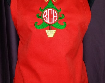 FREE SHIPPING!!!!  Christmas Apron with Tree and Bow - Monogrammed/Personalized - Youth available too!!