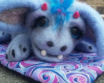 Baby Dragon With Handmade blanket and basket- Made to order-Needle felted Dragon