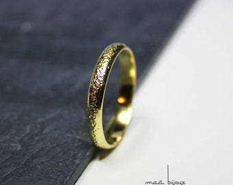 Yellow gold wedding ring, Simple and modern wedding ring for men and women, Milky way, Engagement ring, Unique wedding band, French handmade