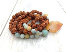 Rudraksha Amazonite Mala Beads, Knotted Mala Necklace, Carnelian Mala Necklace, 108 Bead Rudraksha Mala, Yoga Gift, Meditation Necklace