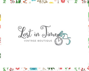 Vintage Clock Premade Logo Design - Web and Print Files included - Limited Edition! Perfect For Vintage Shop, Boutique, Blogger + more!