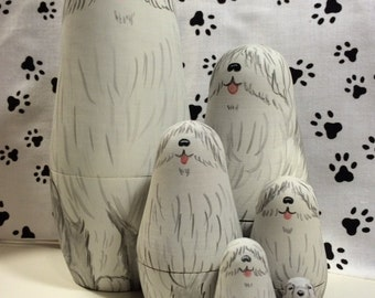 Shaggy Dog Nesting Doll by Susan Kay in the USA