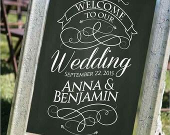 wedding chalkboard sign, chalkboard welcome sign, wedding reception signs, digital download wedding sign