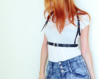 Fashion leather harness belt, black body strap