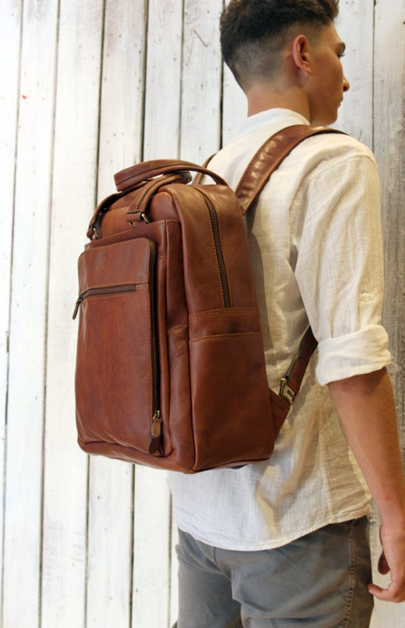 Brown Handmade Italian Leather backpack